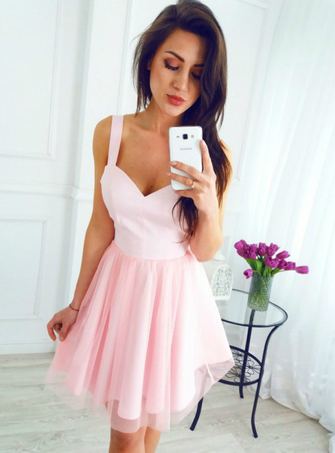 A Line Scoop Sleeveless Short Pink Tulle Homecoming Dress