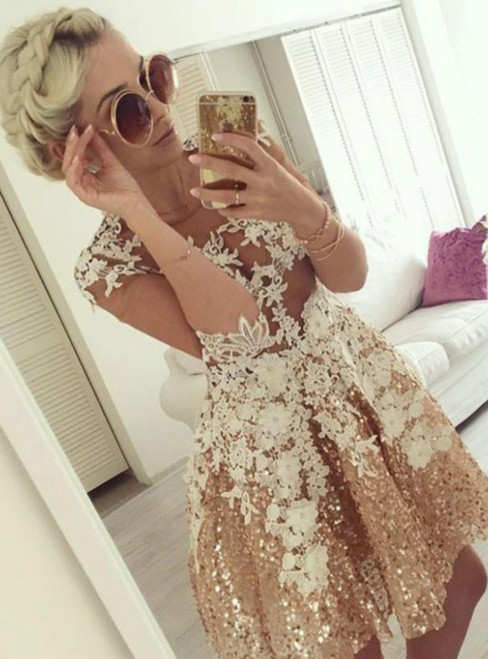 A Line Illusion Top Short Gold Sequins Appliques Homecoming Dress