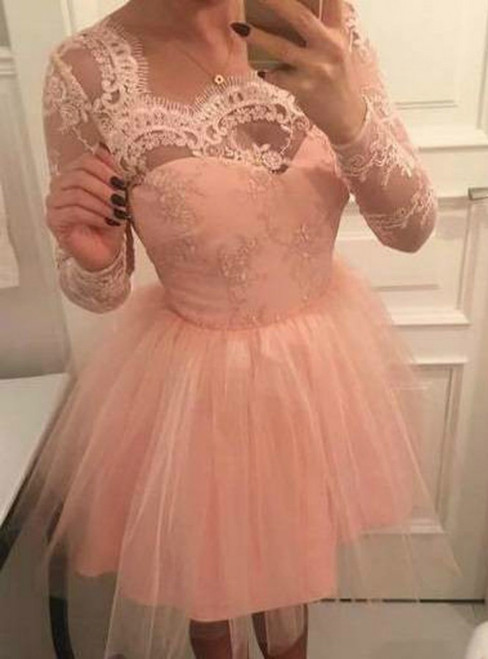 A-Line Pink Tulle Square Long Sleeves Appliques Homecoming Dress