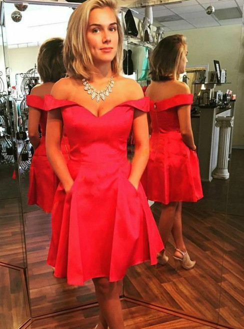 A Line Off the Shoulder Red Satin Homecoming Dress With Pockets
