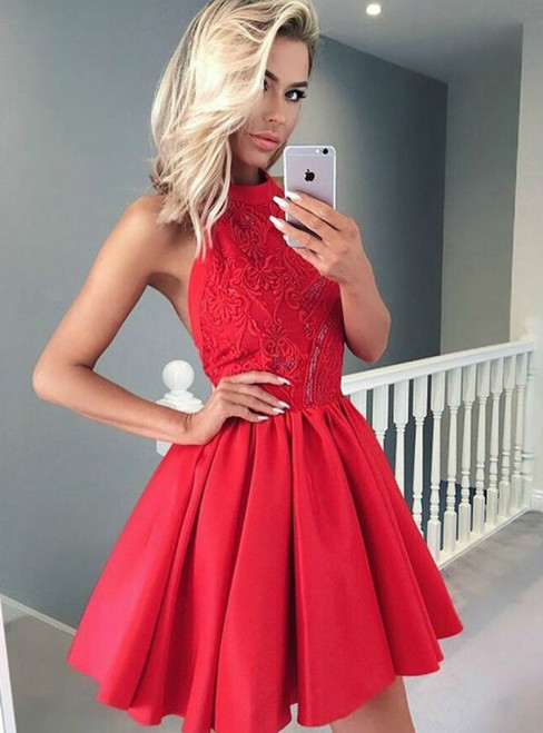 A Line Halter Short Red Satin Homecoming Dress With Lace Beading