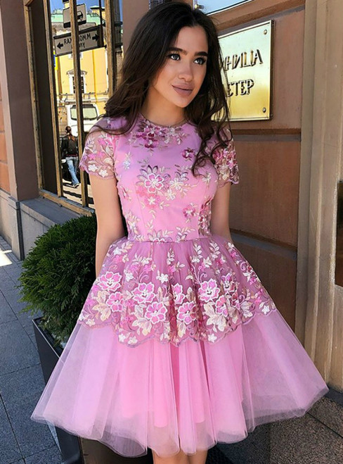 A-Line Jewel Short Sleeves Pink Tulle Appliques Homecoming Dress