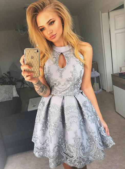 A Line Gray Halter Cut Out Satin Appliques Short Homecoming Dress