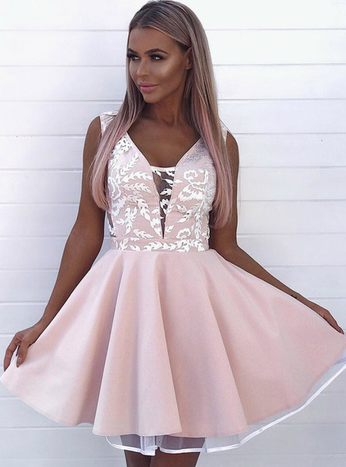 A Line V Neck Low Cut Pink Satin Lace Homecoming Dress