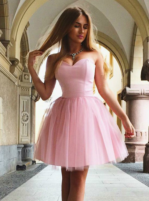 A Line Sweetheart Neck Lace Up Short Pink Tulle Homecoming Dress