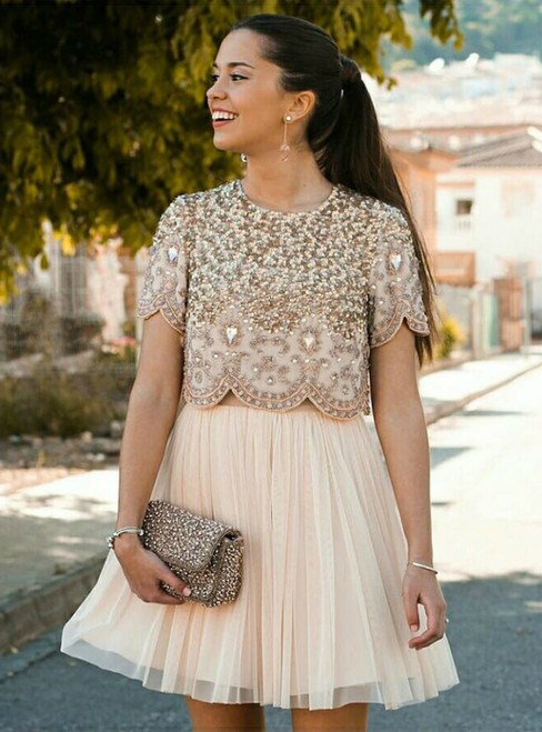 Two Piece Champagne Homecoming Dress With Beading Sequins Rhinestone