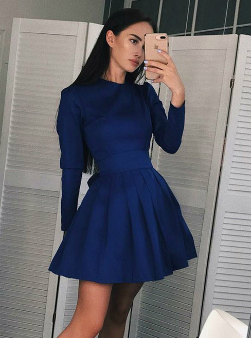 d3ca379963 A Line Jewel Pleated Blue Short Satin Long Sleeve Homecoming Dress