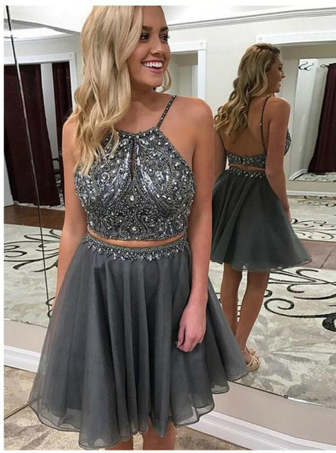 Dark Grey Two Piece Halter Backless Short Beaded Homecoming Dress