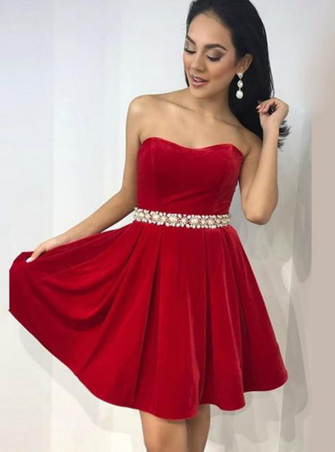 A Line Sweetheart Short Velvet Homecoming Dress With Beading