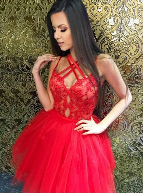 A Line Cross Neck Red Tulle Lace Cute Homecoming Dress