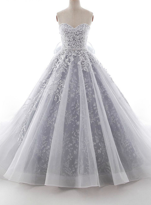 Gray Ball Gown Sweetheart Tulle Appliques With Sash Wedding Dress