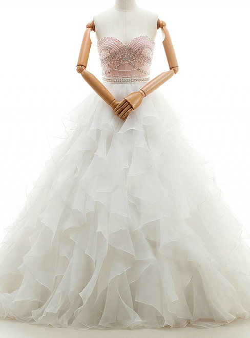 White Ball Gown Chiffon Sweetheart Neck With Beading Wedding Dress