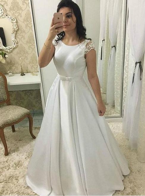 A Line White Satin Cap Sleeve Backless Wedding Dress With Sash