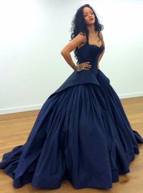 Blue Two Straps Ball Gown Satin Prom Dresses 2017