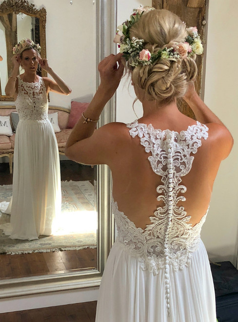 Cheap Simple White Chiffon Lace Beach Wedding Dress