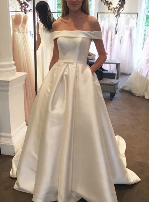 A-Line White Satin Off The Shoulder With Button Wedding Dress