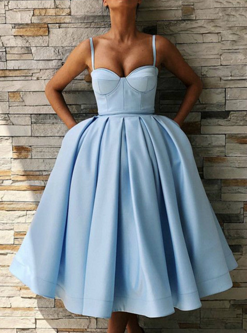 Blue Satin Spaghetti Straps Tea Length Ball Gown Prom Dresses