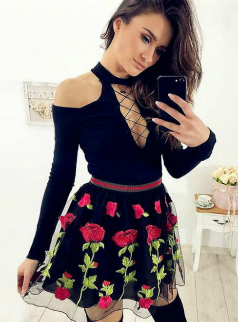 A Line Jewel Lace Up Front Black Short Appliques Homecoming Dress