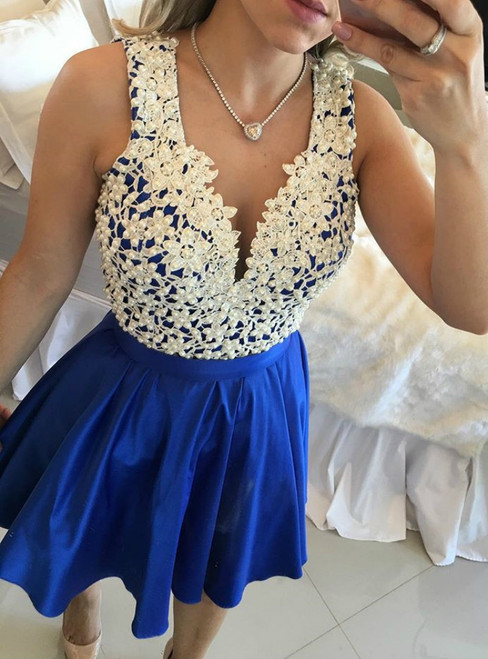 Blue Satin V-neck Appliques With Pearls Homecoming Dress