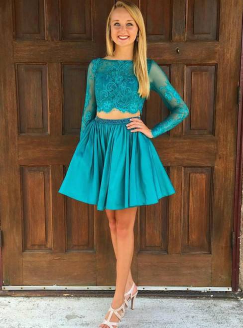 A-Line Blue Two Piece Satin Lace Long Sleeve Homecoming Dress