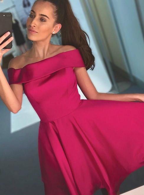 Red Satin Off The Shoulder Short Knee Length Homecoming Dress