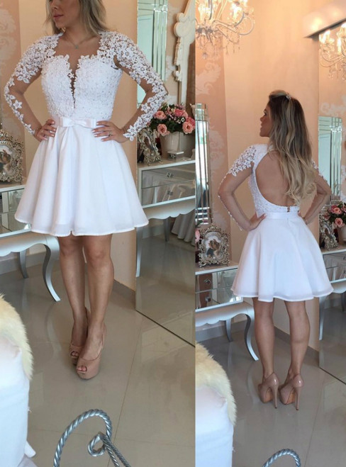White Chiffon Lace Backless Long Sleeve With Pearls Homecoming Dress
