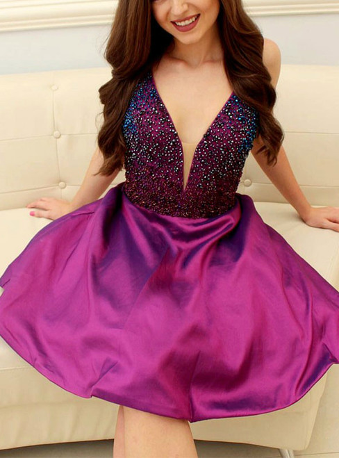V-Neck Purple Short Prom Homecoming Dress With Beading