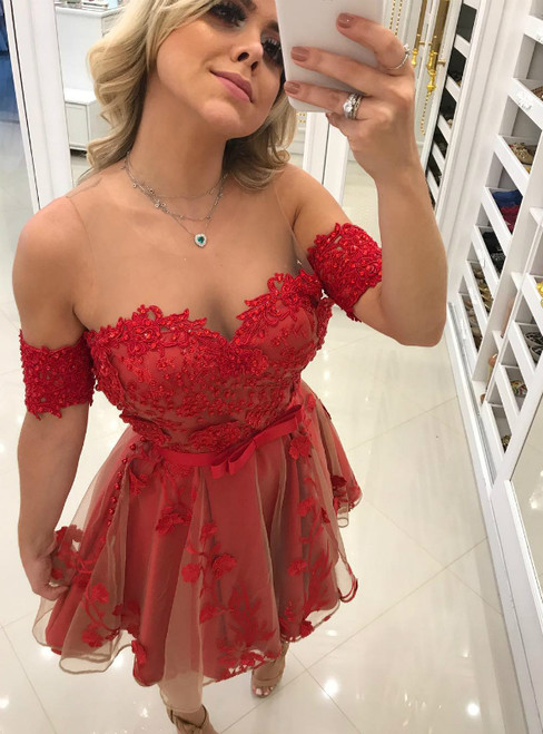 Short Red Tulle Lace See Through Neck Homecoming Dress With Beading
