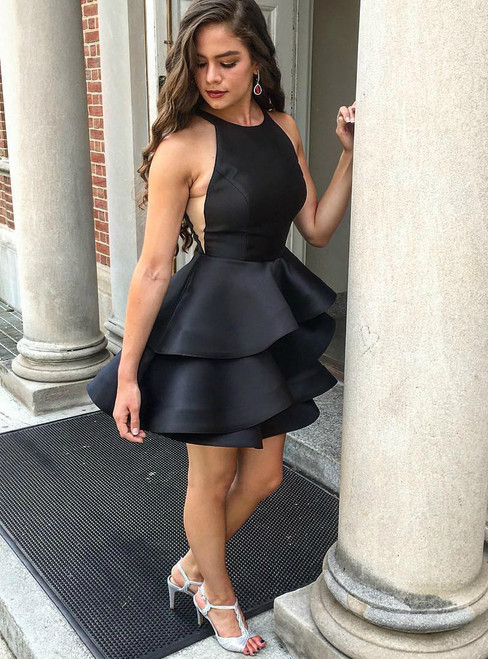 Little Black Satin Halter Sleeveless Short Tired Homecoming Dress