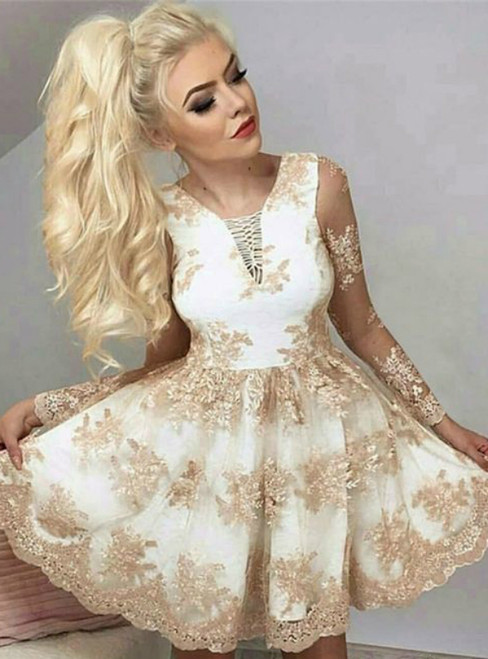 A-Line Champagne Lace Appliques Long Sleeve Homecoming Dress