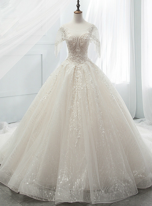Ball Gown Sequins Tulle Sequins Backless With Beading Wedding Dress