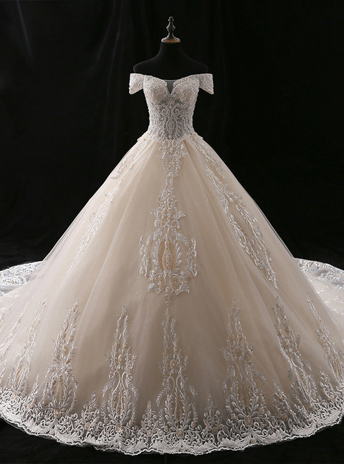 Ball Gown Champagne Off The Shoulder Tulle Appliques Wedding Dress