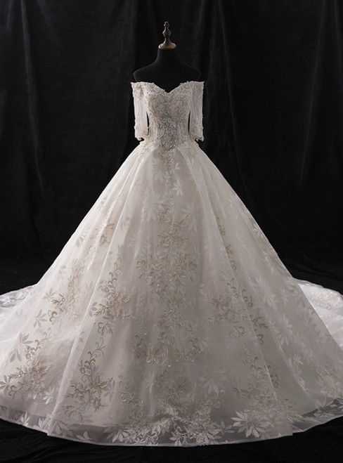 White Ball Gown Tulle Appliques Short Sleeve With Beading Wedding Dress