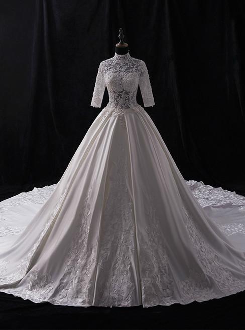 White High Neck Satin Appliques Beading Half Sleeve Wedding Dress