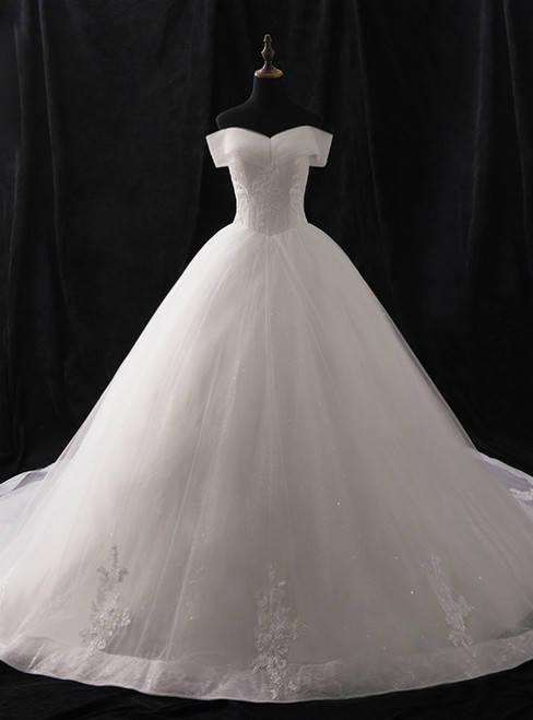 White Ball Gown Tulle Off The Shoulder Appliques Wedding Dress
