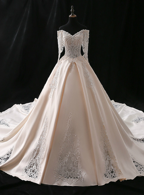 Champagne Ball Gown Satin Appliques Off The Shoulder Wedding Dress