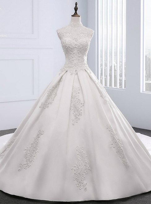 White Satin Appliques Pearls High Neck With Train Wedding Dress