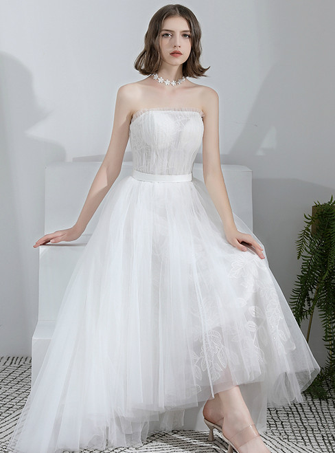 In Stock:Ship in 48 Hours Hi Lo Strapless Pleats Wedding Dress