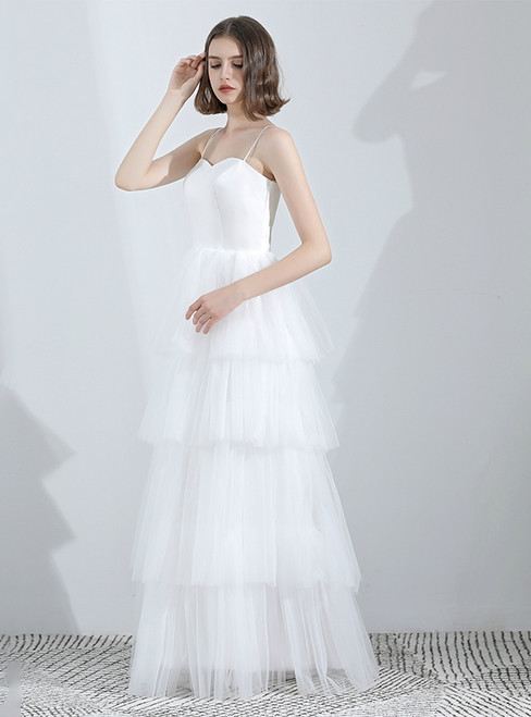 In Stock:Ship in 48 Hours White Two Piece Lace Tulle Wedding Dress
