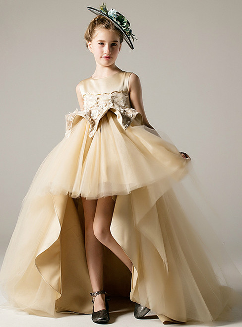 Champagne Tulle Satin Hi Lo Appliques Flower Girl Dress