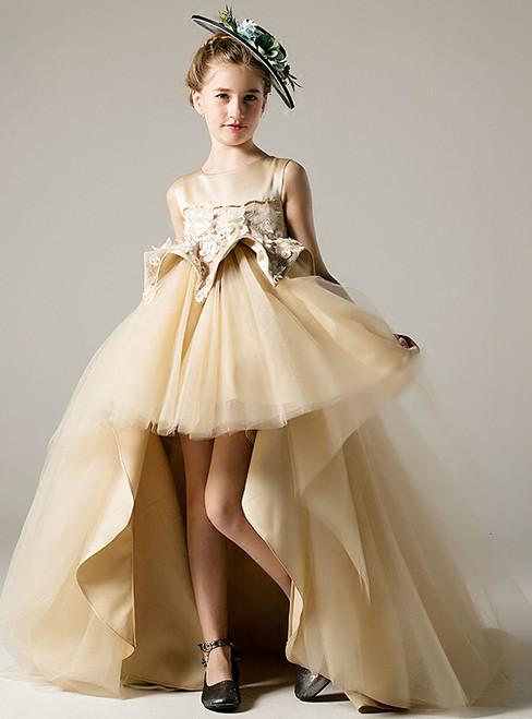 Champagne Tulle Satin Hi Lo Appliques Flower Girl Dress