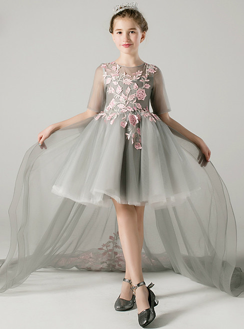 A-Line Gray Hi Lo Tulle Short Sleeve Appliques Flower Girl Dress