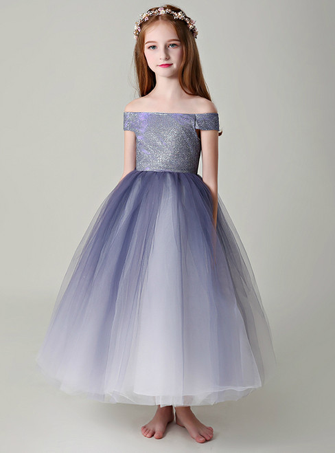 A-Line Blue Tulle Off The Shoulder Long Flower Girl Dress