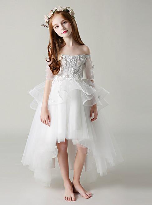 White Hi Lo Short Sleeve Appliques Off The Shoulder Girl Dress