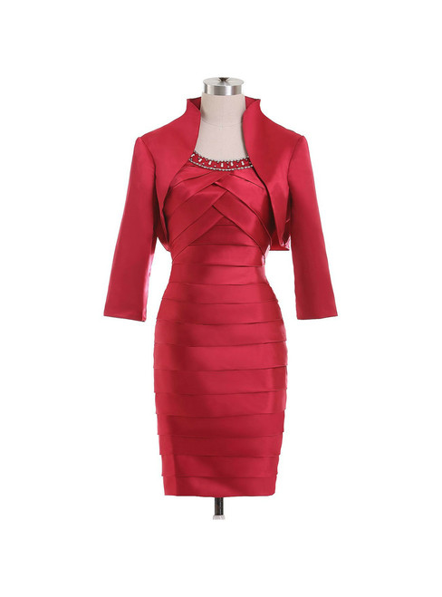 Red Short Mother Of The Bride Dresses Suits With Jackets Pleats Satin