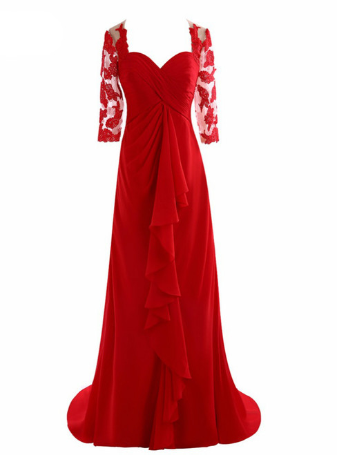 Elegant Half Sleeve Chiffon Pleat Red Lace Mother of the Bride Dresses