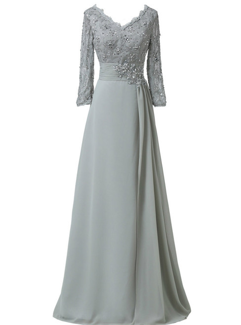 Chiffon Lace 3/4 Sleeve Double V Neck Grey Beading Mother of the Bride Dresses