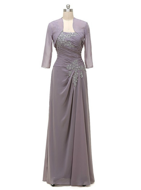 Grey One Shoulder Chiffon With Jacket Mother Of The Bride Dresses