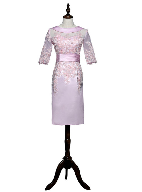 Pink Sheath Half Sleeves Appliques Mother Of The Bride Dresses 2018