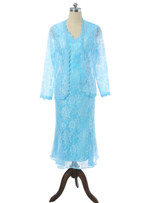 V-neck Ankle Length Lace With Jacket Mother Of The Bride Dresses
